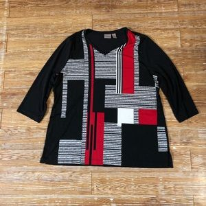 Chico's easy wear blouse black red white size 2